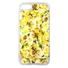 Rose Pattern Back Case w/ Card Slot for IPHONE 7 -Yellow + Transparent