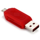 USB 2.0 TF / SD Card Reader - Red
