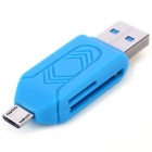 USB 2.0 TF / SD Card Reader - Blue