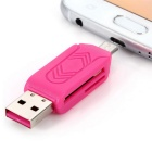 USB 2.0 / Micro USB TF / SD Card Reader - Dark Pink