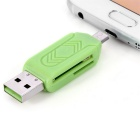 USB 2.0 / Micro USB TF / SD Card Reader - Green