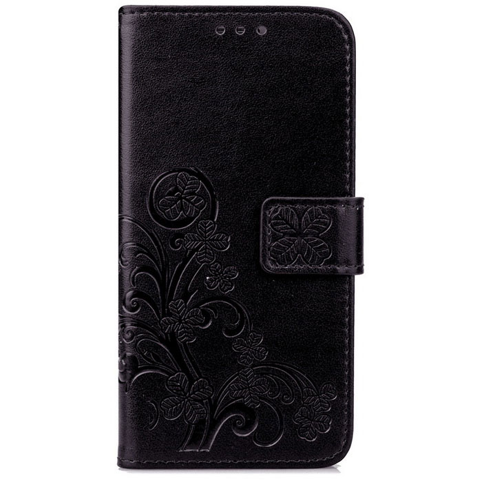 Lucky Clover Embossed Pattern Wallet Case for Samsung Galaxy S7 -Black