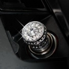 ZIQIAO Bling Rhinestone Car Cigarette Lighter Heater - Silver