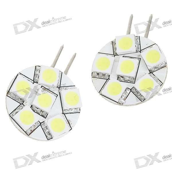 G4 1.8W 70-Lumen 6x5050 SMD LED Car White Light Bulb (Pair/DC 12V) 9006 6w 190 lumen 18x5050 smd led car white light bulb dc 12v