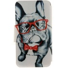 SZKINSTON Glass Dog HD Pattern PU Leather Case for IPHONE 7 - Black