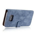 PC + PU Flip Wallet Cover Case for Samsung Galaxy note 7 - Blue Grey