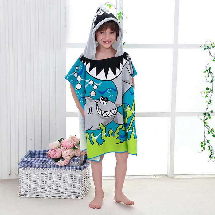 Creative 3D Printing Fiber Shark Hooded Cloak Children Cloak Towel