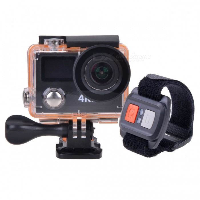 H8 Pro Wi-Fi Ultra HD 4K 30fps 2.7K 60fps Mini Action Camera - BlackSport Cameras<br>Form ColorBlackShade Of ColorBlackMaterialABSQuantity1 DX.PCM.Model.AttributeModel.UnitImage SensorOthers,Sony IMX078Anti-ShakeYesFocal DistanceNo DX.PCM.Model.AttributeModel.UnitFocusing Range12cm~InfiniteWide Angle7G+1IR 170°A+ HD ultra-wide lensEffective Pixels12.0MPImagesJPGStill Image Resolution12M 4000*3000; 8M 3264*2448VideoMOVVideo Resolution4k 30fps; 2.7k 60fps; 1080p 60/120fps; 720P 200fpsVideo Frame Rate30,60,120Audio SystemStereoCycle RecordYesISONoExposure Compensation-2;-1.7;-1.3;-1;-0.7;-0.3;0;+0.3;+0.7;+1;+1.3;+1.7;+2.0Scene ModeAutoWhite Balance ModeAutoSupports Card TypeTFSupports Max. Capacity64 DX.PCM.Model.AttributeModel.UnitBuilt-in Memory / RAMNoOutput InterfaceMicro USB,Micro HDMILCD ScreenYesScreen TypeTFTScreen Size2 DX.PCM.Model.AttributeModel.UnitBattery Measured Capacity 1050 DX.PCM.Model.AttributeModel.UnitNominal Capacity1050 DX.PCM.Model.AttributeModel.UnitBattery TypeLi-ion batteryBattery included or notYesBattery Quantity1 DX.PCM.Model.AttributeModel.UnitVoltage3.7 DX.PCM.Model.AttributeModel.UnitBattery Charging Timeabout 3 hoursLow Battery AlertsYesWater ResistantWater Resistant 3 ATM or 30 m. Suitable for everyday use. Splash/rain resistant. Not suitable for showering, bathing, swimming, snorkelling, water related work and fishing.Supported LanguagesEnglish,Traditional Chinese,Russian,Portuguese,Spanish,Italian,Korean,French,German,Others,Polski, Japanese, ThaiCertificationCEPacking List1 * Sport camera1 * Remote controller1 * Waterproof housing1 * Protective back case1 * Handle bar/ pole mount2 * Helmet bases 1 * Mount A1 * Mount B1 * Mount C1 * Mount D1 * Mount E1 * Mount F1 * Clip A1 * Clip B2 * Bandages (35cm)  2 * Velcro straps (20cm)1 * Hand strap (29cm)4 * Cable ties1 * Wire1 * Lens cloth1 * Charger (EU plug; Input: 100~240V; Output: 5V, 1A)1 * USB Cable (60cm)1 * Li-ion Battery (3.7V, 1050mAh)2 * English user manuals<br>