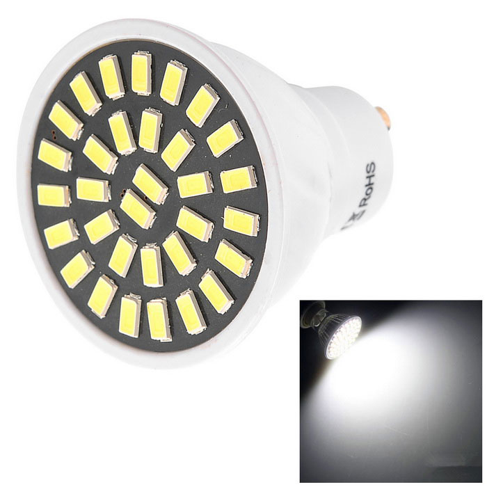 YWXLight High Bright GU10 7W Cold White 32-5733 SMD LED SpotlightGU10<br>Color BINCool WhiteMaterialPCForm  ColorWhiteQuantity1 DX.PCM.Model.AttributeModel.UnitPower7WRated VoltageAC 220-240 DX.PCM.Model.AttributeModel.UnitConnector TypeGU10Theoretical Lumens800 DX.PCM.Model.AttributeModel.UnitActual Lumens500-700 DX.PCM.Model.AttributeModel.UnitEmitter TypeOthers,5733 SMDTotal Emitters32Color Temperature6000KDimmableNoBeam Angle180 DX.PCM.Model.AttributeModel.UnitPacking List1 * YWXlight LED Bulb<br>