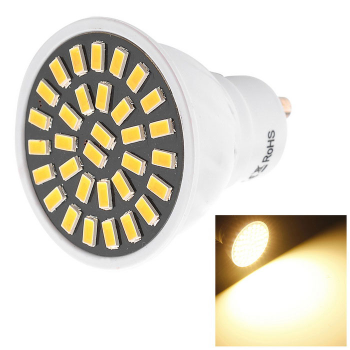 YWXLight High Bright GU10 7W 32-5733 SMD LED SpotlightGU10<br>Color BINAC 220V Warm WhiteMaterialPCForm  ColorWhiteQuantity1 DX.PCM.Model.AttributeModel.UnitPower7WRated VoltageAC 220-240 DX.PCM.Model.AttributeModel.UnitConnector TypeGU10Theoretical Lumens800 DX.PCM.Model.AttributeModel.UnitActual Lumens500-700 DX.PCM.Model.AttributeModel.UnitEmitter TypeOthers,5733 SMDTotal Emitters32Color Temperature3000KDimmableNoBeam Angle180 DX.PCM.Model.AttributeModel.UnitPacking List1 * YWXlight LED Bulb<br>