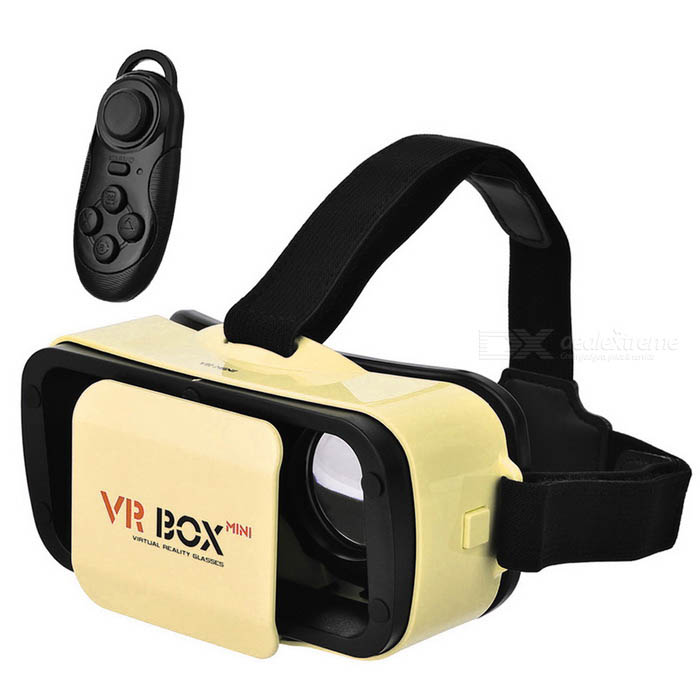 VR Mini gafas de realidad virtual 3D + bluetooth del gamepad - amarillo