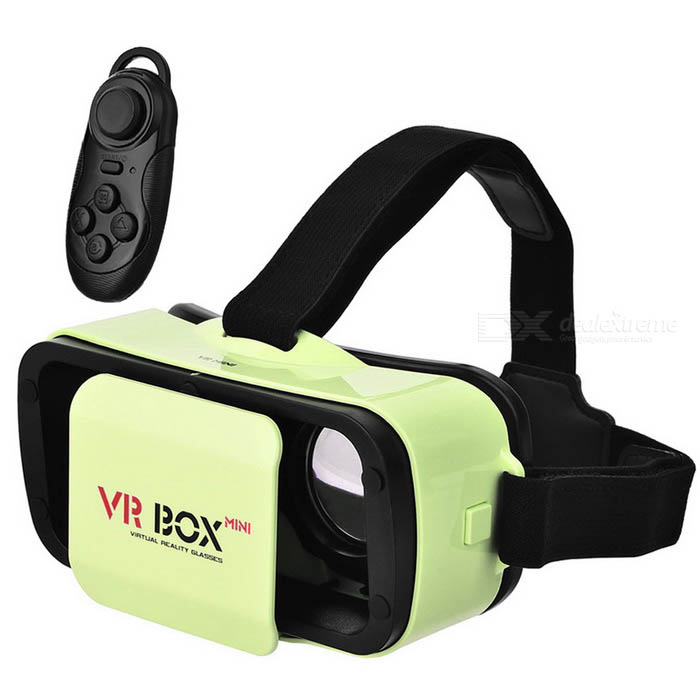 VR BOX Mini Virtual Reality 3D Glasses + Bluetooth Gamepad - Green