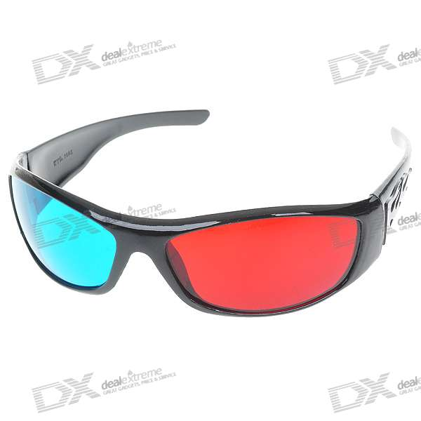 Re-useable Plastic Frame Resin Lens Anaglyphic Blue + Red 3D Glasses