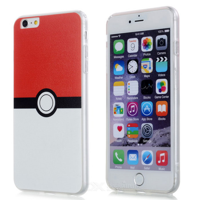 Poke Ball TPU Back Case for IPHONE 6 Plus / 6S PLUS - White + Red