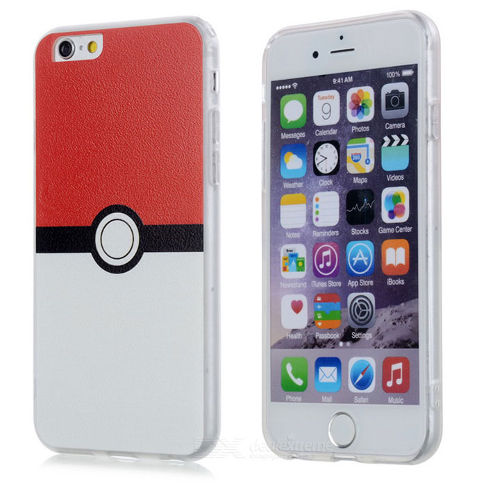 Poke Ball Style TPU Back Case for IPHONE 6 / 6S - White + Red + Black