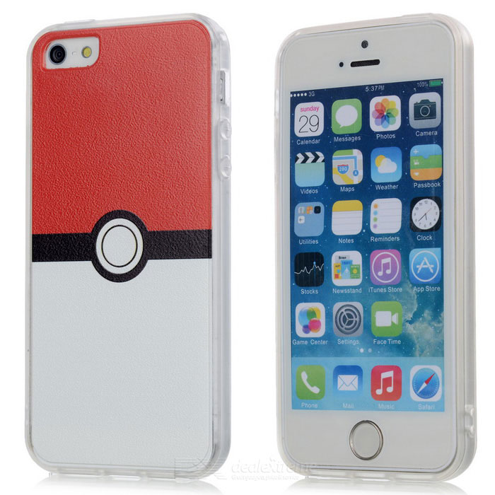 Poke Ball Style TPU Back Case for IPHONE 5 / 5S / SE - White + Red