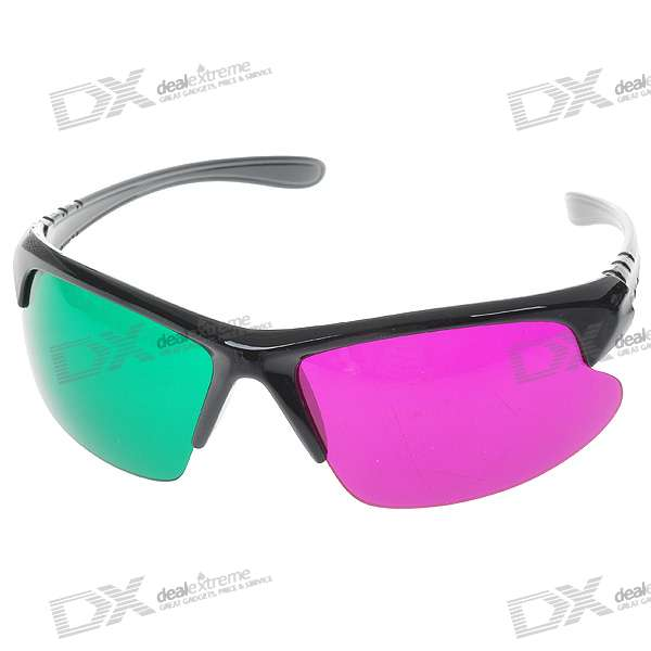 Sport Style Re-useable Plastic Frame Resin Lens Anaglyphic Blue + Red 3D Glasses
