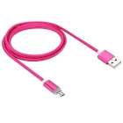 Universal Luminous Nylon Data Cable for Android Phones -Dark Pink (1m)