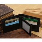 JIN BAO LAI 3266-1 Men's Fashionable PU Leather Short Wallet - Black