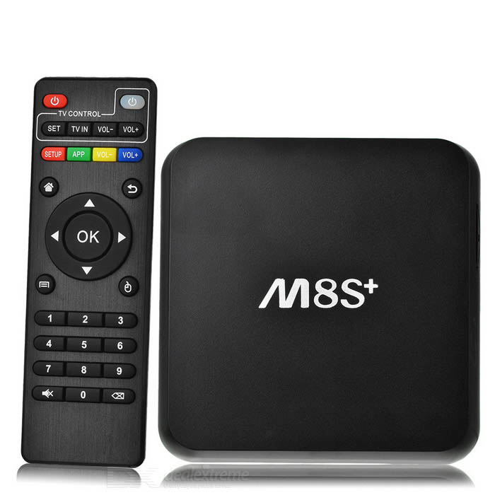 M8S plus UHD 4K Android Smart TV soitin w / 2 Gt ram, 8GB ROM - musta