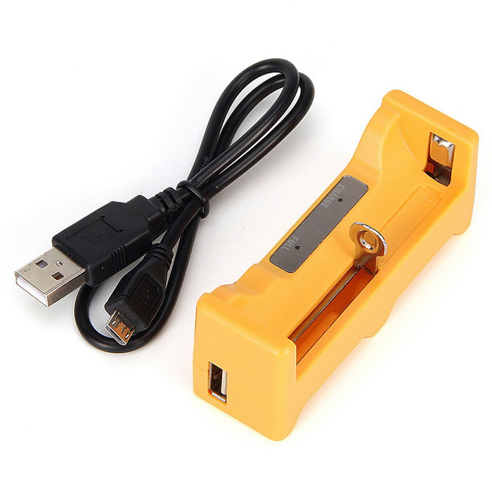 Ultrafire HXY-1C Single 2500mAh 18650 Li-ion Battery Charger - YellowChargers<br>Form  ColorYellowPower AdapterOthersModelHXY - 1CQuantity1 DX.PCM.Model.AttributeModel.UnitMaterialABSCharging Cell TypeLithium IonCharging Battery Type18650Rechargeable Battery Qty1Target Country &amp; RegionUSBuilt-in Protected CircuitYesInput VoltageDC 5 DX.PCM.Model.AttributeModel.UnitOutput VoltageDC 5 DX.PCM.Model.AttributeModel.UnitMax. Output Current1A DX.PCM.Model.AttributeModel.UnitFast Charging FunctionYesLCD ScreenNoAuto Circuit DetectionYesOver Voltage ProtectionYesShort-Circuit ProtectionYesOver-Charging ProtectionYesOver-Discharging ProtectionYesPacking List1 * Battery Charger1 * USB cable (cable length 40cm)<br>