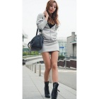 Women's Back Wings Pattern Sexy Hoodie Dress - Grey