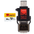 Strontium Nitro SRN64GTFU1P 64GB MicroSD with Type-C OTG Card Reader