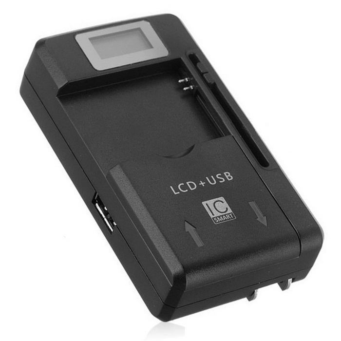 "Universal USB Travel Charger / Battery Charger w/ 0.8"" LCD - Black"
