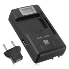 "USB Travel Charger / Battery Charger w/ 0.8"" LCD - Black (EU Plug)"