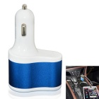 3-in-1 Dual USB Car Cigarette Lighter Charger - White + Blue