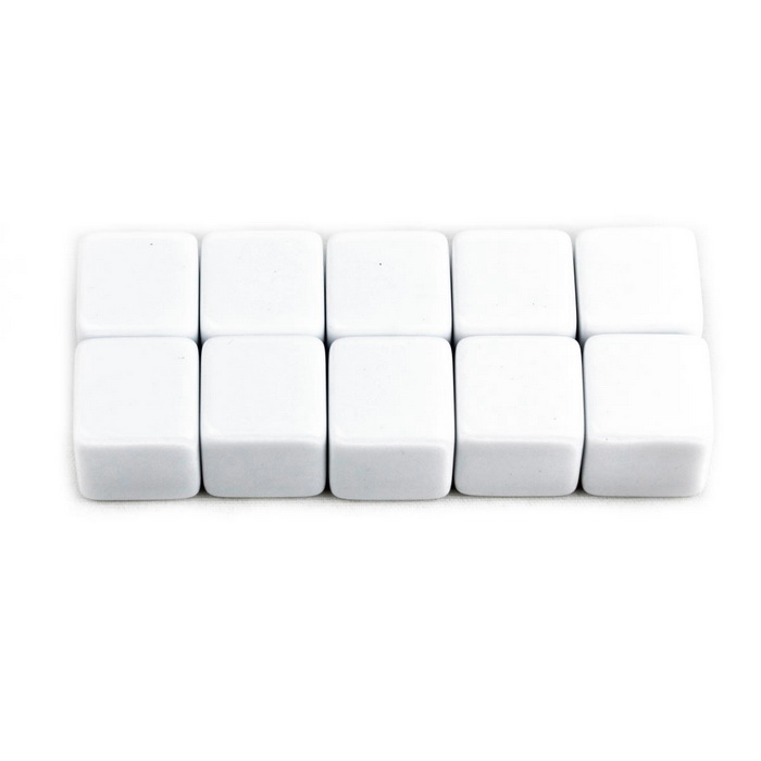 DIY 16mm Smooth Dice - White (10 PCS)