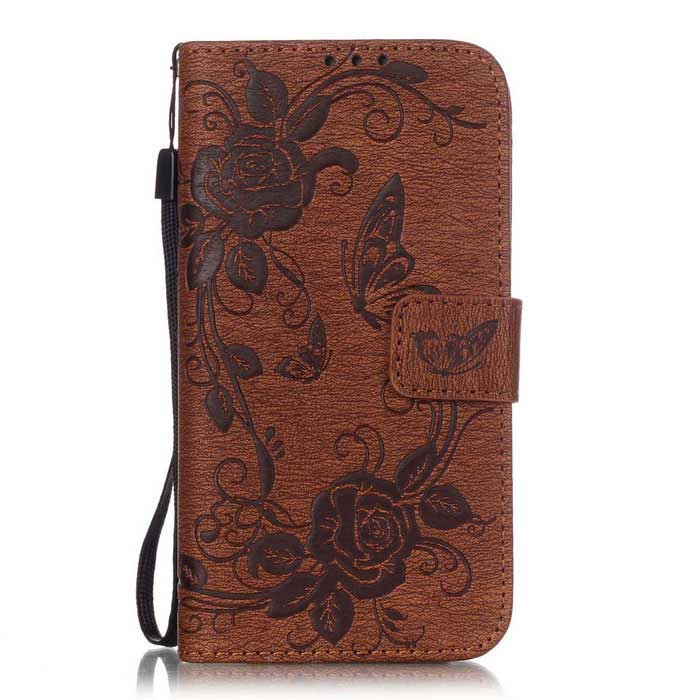 BLCR Butterfly Pattern Flip Case for Samsung Galaxy S6 Edge - Brown