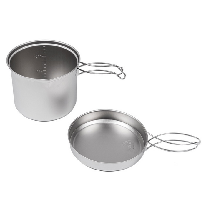 Fire-Maple Titanium Pot Set for 1~2 Persons - Titanium Grey (1.3L)