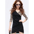 Sexy V-collar Long Sleeved Cotton Lace Tight Dress - Black + White (L)