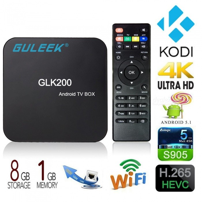 Guleek GLK200 Android 4K Smart TV Box w / 1 GB RAM, 8 GB ROM (US pluggar)