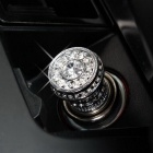 ZIQIAO Bling Rhinestone Car Cigarette Lighter Heater - Bronze Gray