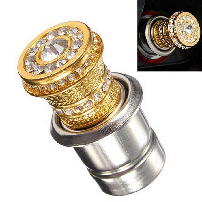 ZIQIAO Universal Bling Rhinestone Car Cigarette Lighter Heater - Golde