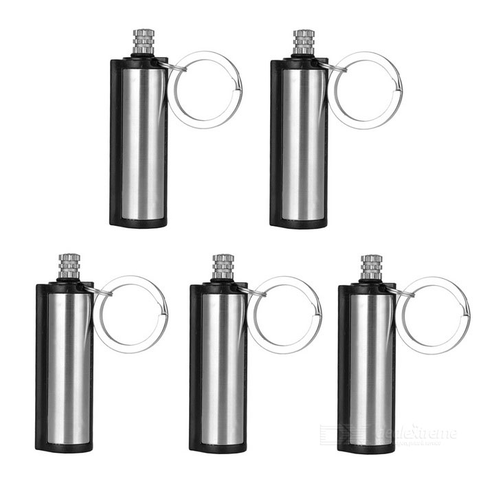 Cylindrical Emergency Fire Starter Flint Match Lighters - Silver(5PCS)