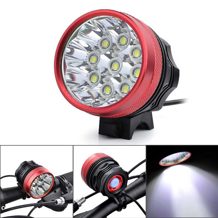 Marsing 9- T6 LED 3-Mode Cold White Bike Light / Headlamp (6*18650)Bike Lights<br>Form  ColorBlack + Red + Multi-ColoredModelB90Quantity1 DX.PCM.Model.AttributeModel.UnitMaterialAluminium alloyEmitter BrandCreeLED TypeXM-LEmitter BINT6Number of Emitters9Color BINCold WhiteWorking Voltage   8.4 DX.PCM.Model.AttributeModel.UnitPower Supply6 x 18650 (Included)Current8800 DX.PCM.Model.AttributeModel.UnitActual Lumens5000-6000 DX.PCM.Model.AttributeModel.UnitRuntime150-360 DX.PCM.Model.AttributeModel.UnitNumber of Modes3Mode ArrangementHi,Mid,Fast StrobeMode MemoryNoSwitch TypeForward clickyLensGlassReflectorAluminum SmoothFlashlight MountingHandlebar and HelmetSwitch LocationTailcapBeam Range300-400 DX.PCM.Model.AttributeModel.UnitBike Lamp Interface Size2.1mmBattery Pack Interface Size5.5mmCertificationCE, RoHsPacking List1 * Bike light2 * Rubber rings1 * 8800mAh Battery Pack (6 x 18650) 1 * EU plug power charger (100V~240V / 90cm)<br>