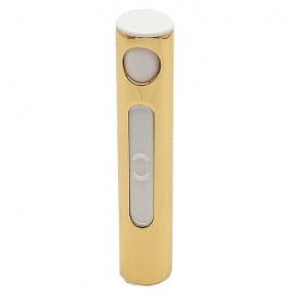 Cylindrical USB Rechargeable Electronic Cigarette Lighter - Gold