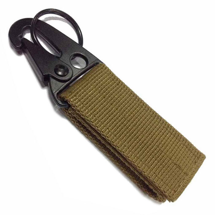 EDCGEAR Tactical Webbing Hook Belt Hanging Buckle Carabiner -Mud Color
