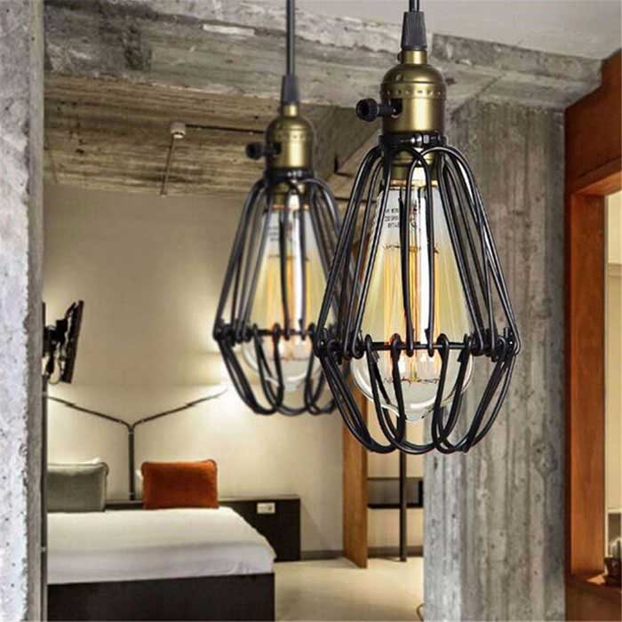 HESSION Industrial Opening/Closing Pendant Light Wire Cage