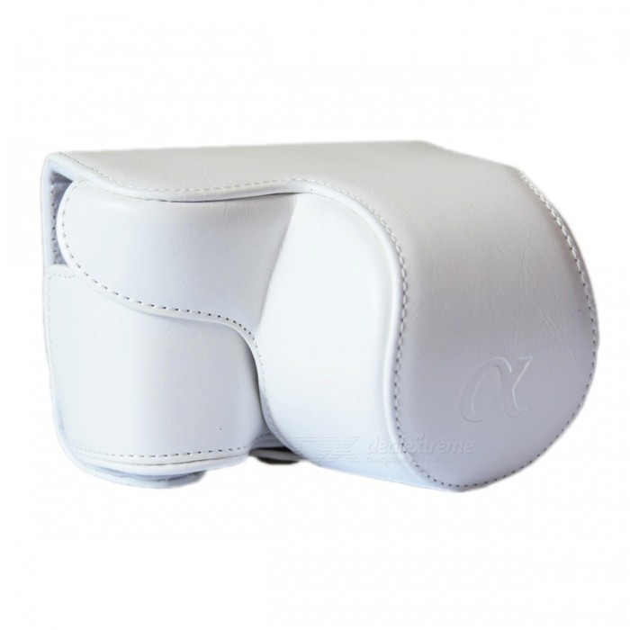 A6300 Camera Case (Crazy Horse Leather) For Sony A6000/A6300 - White