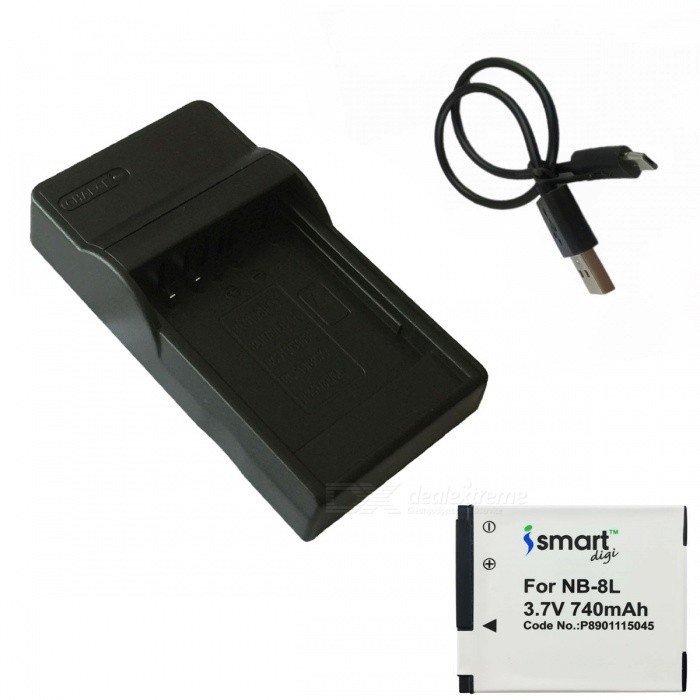 ismartdigi 8L Battery + Micro USB Mobile Charger - White + Black