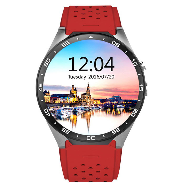 KW88 Android 5.1 OS 3G Smart Watch Phone w/ 512MB RAM, 4GB ROM - RedSmart Watches<br>Form  ColorRedModelKW88Quantity1 DX.PCM.Model.AttributeModel.UnitMaterialAluminum +TPUShade Of ColorRedCPU ProcessorMTK6580  Quad core 1.3GhzScreen Size1.39 DX.PCM.Model.AttributeModel.UnitScreen Resolution400*400Touch Screen TypeYesNetwork Type2G,3GCellularWCDMA,GSMSIM Card TypeMicro SIMBluetooth VersionBluetooth V4.0Operating SystemAndroid 5.1Compatible OSAndroid 5.1LanguageEnglish,Fran?ais,Deutsch,Espa?ol,Portugu?s(Brasil),Portugu?s(Portugal),Italiano,Farsi,Polski,Russian,Thai,Japanese,Vietnamese,Arabic,Hebrew,Turkish,Korean,Burmese,Hindi,Indonesia ,BengaliWristband Length28.5 DX.PCM.Model.AttributeModel.UnitWater-proofNoBattery ModeNon-removableBattery TypeLi-ion batteryBattery Capacity400 DX.PCM.Model.AttributeModel.UnitStandby Time72 DX.PCM.Model.AttributeModel.UnitOther FeaturesFrequency3G WCDMA 850/2100 or customized; 2G GSM 850/900/1800/1900 quad-bands<br>SIMMicro Sim;<br>Touch screen:1.39 inch AMOLED whole round HDresolution400*400 pixel260000 colors;OGS Capacitive Screen,full bonding technology;<br>Bluetooth:Ver 4.0,  compatible for both IOS and Android.Packing List1 * Smart Watch1 * Magnetic USB Cable (100cm)1 * Screwdriver (17.5cm)1 * English Manual<br>