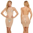 Perspective Halter Rhinestone Nightclub Sexy Dress - Skin Color (XL)