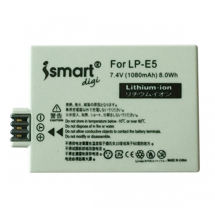 ismartdigi LPE5 Battery + Micro USB Camera Battery Charger - BlackReplacement Batteries<br>Form  ColorBlack + Grey + Multi-ColoredModelLPE5+USB C.MaterialPlastic shellQuantity1 DX.PCM.Model.AttributeModel.UnitCompatible BrandCanonCompatible ModelsEOS 450D 500D 1000D KISSX2 KISSX3Battery Measured Capacity 1080 DX.PCM.Model.AttributeModel.UnitMark Capacity1080 DX.PCM.Model.AttributeModel.UnitCompatible Battery ModelLP-E5Battery TypeLi-ion batteryDecode Use DirectlyVoltage7.4 DX.PCM.Model.AttributeModel.UnitOther FeaturesMicro USB mobile charger(DC charging and mobile power supply)Packing List1 * Battery 1 * Charger 1 * Micro USB Cable (Length: 30cm)<br>