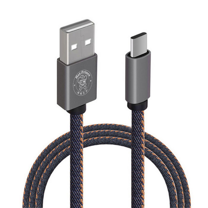 Hat-Prince Jeans Style USB 3.1 Type-C Data / Charger Cable 2.4A - Blue
