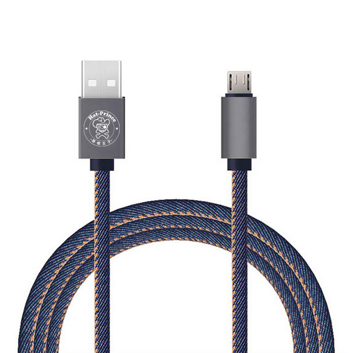 Hat-Prince Jeans Style Micro Usb Data / Charger Cable 2.4A - Blue