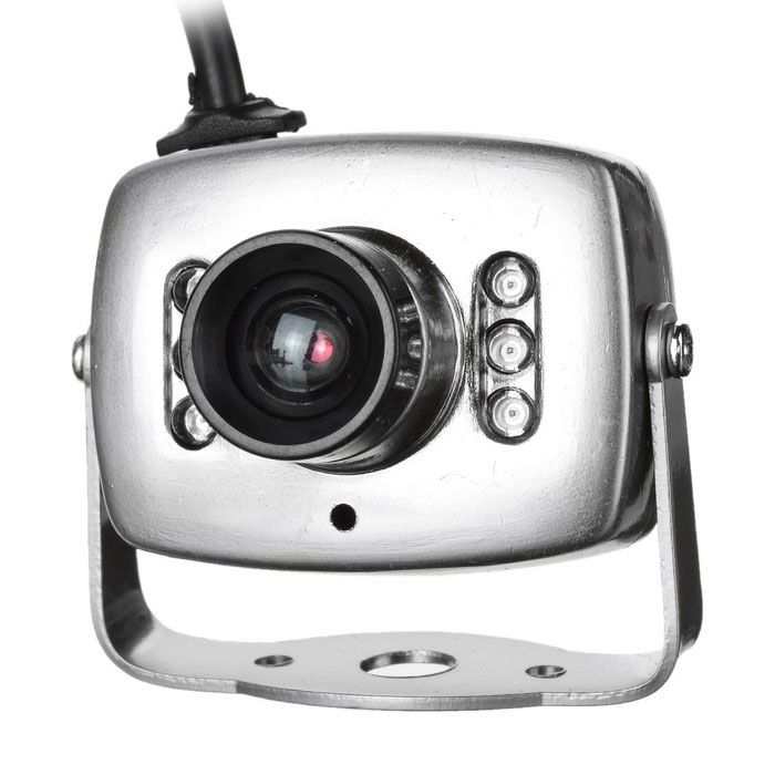 CMOS Color Surveillance Security Camera med 6-IR LED (PAL)-silver
